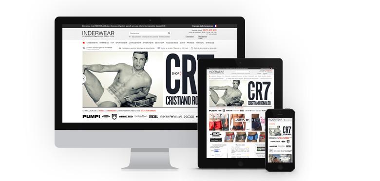 Relooking graphique et conception des interfaces web/mobile de la boutique en ligne Inderwear - Paris
