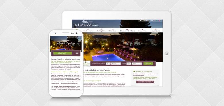Refonte en responsive web design du site de l'hôtel de luxe La bastide d'Antoine - Saint Tropez