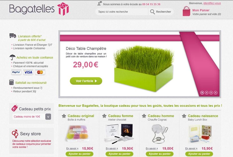 Refonte graphique et ergonomique du site Ecommerce Bagatelles, optimisation de la conversion, UX & stratégie e-commerce
