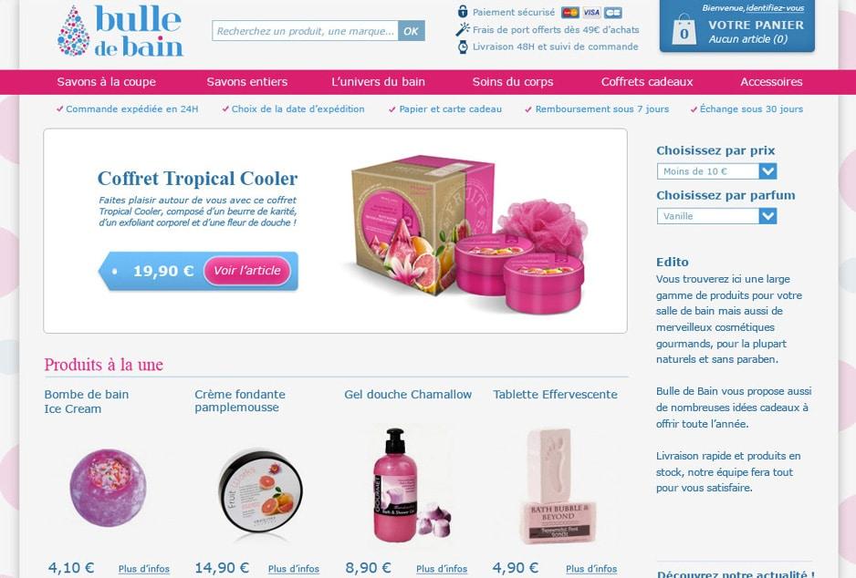 Accompagnement e-commerce, création graphique du site ecommerce Bulle de Bain développé avec Prestashop, stratégie cross-canal