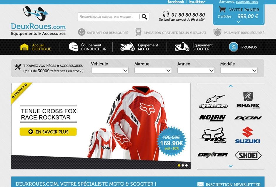 Conception de l'identité visuelle et design des interfaces de la boutique en ligne moto Deux Roues à La Rochelle