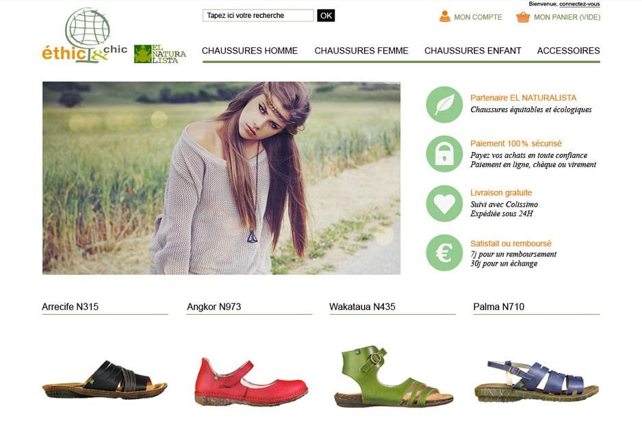 Conseil e-commerce (marketing, acquisition, fidélisation), création graphique, intégration et développement PrestaShop du site e-commerce pour la boutique retail de mode éthique Ethic & Chic Toulouse