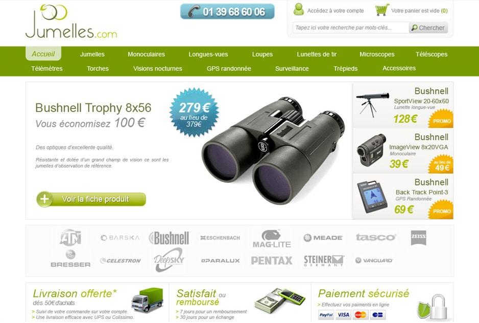 Consultant e-business, optimisation du site ecommerce Jumelles.com motorisé avec Magento