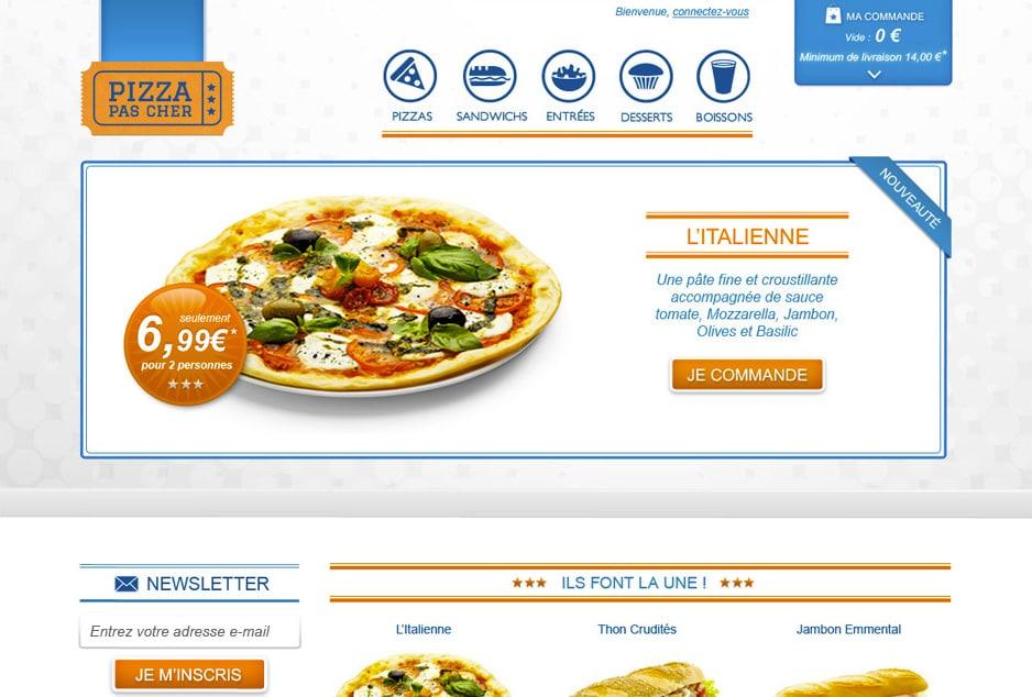 Design du site ecommerce PPC spécialisé dans la livraison de pizzas à Toulouse