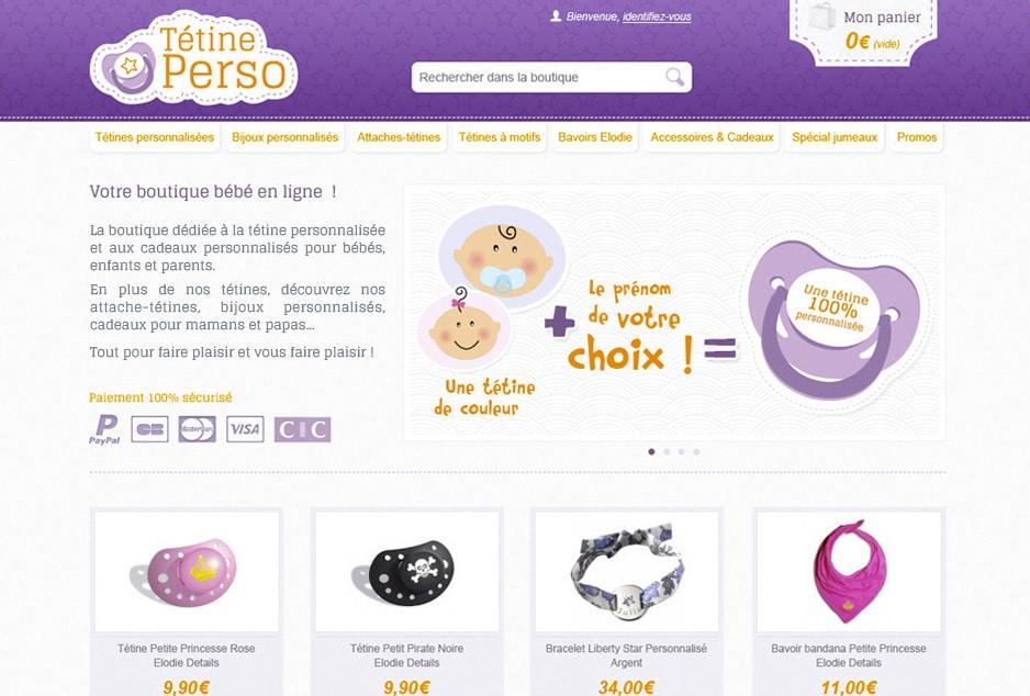 Création de la nouvelle identité visuelle et UX/UI design de la E-boutique pour bébé Tétine Perso