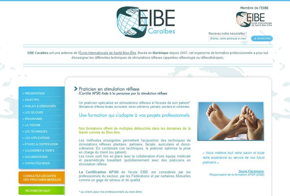 Création du site internet Eibe Caraibes, développement web / mobile