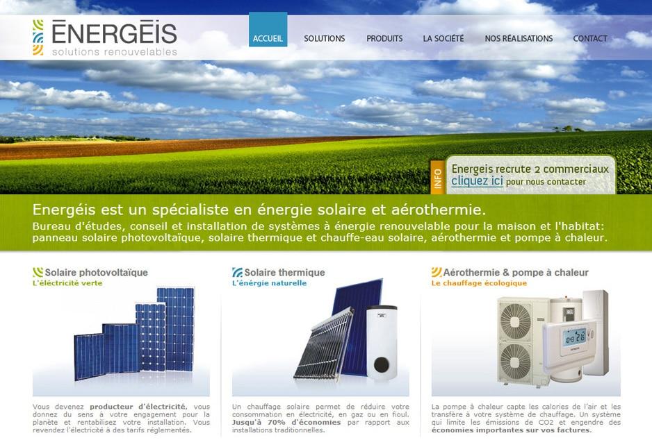 Design, intégration et développement du site de l'entreprise toulousaine Energeis (Balma) avec logiciel de gestion de contenu sur mesure et module spécifique de devis en ligne