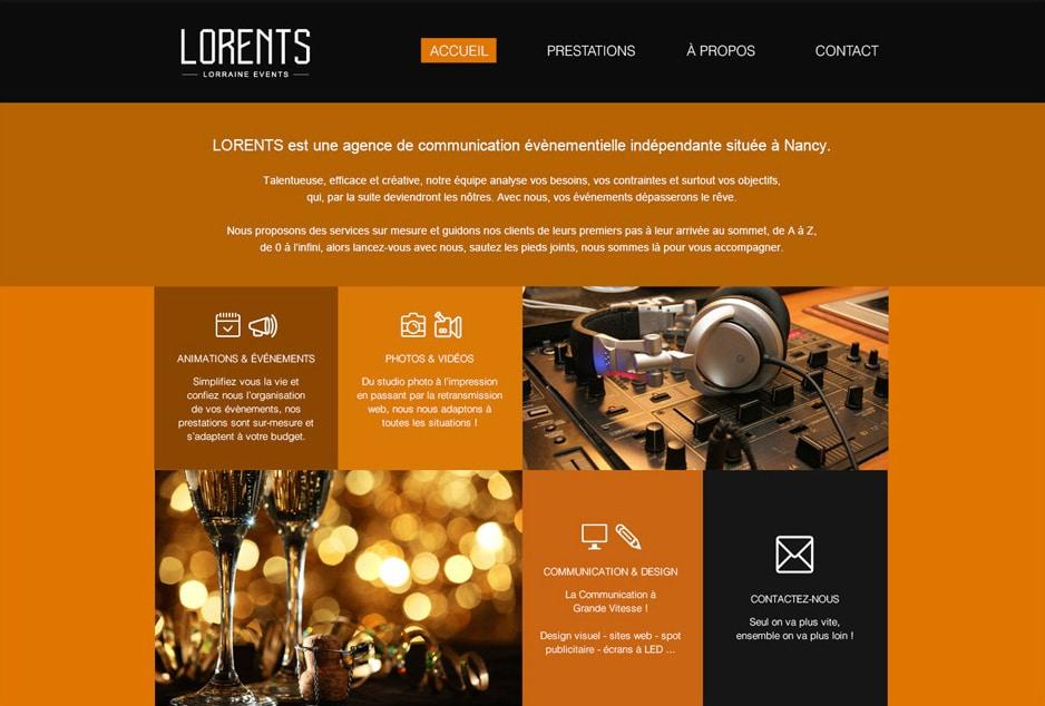Conception du site vitrine de l'agence d'organisation de mariages Lorents située à Nancy