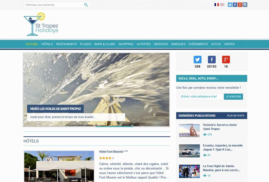 Création du site responsive St Tropez Holidays développé avec WordPress