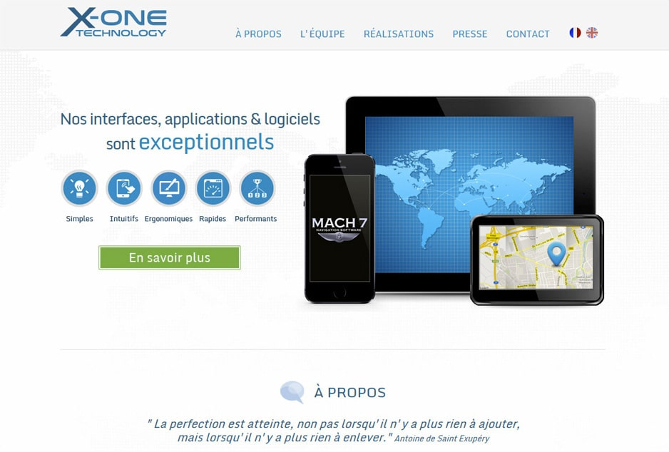 Conception du site web de la start-up X-One Technology (Avignon / Paris)