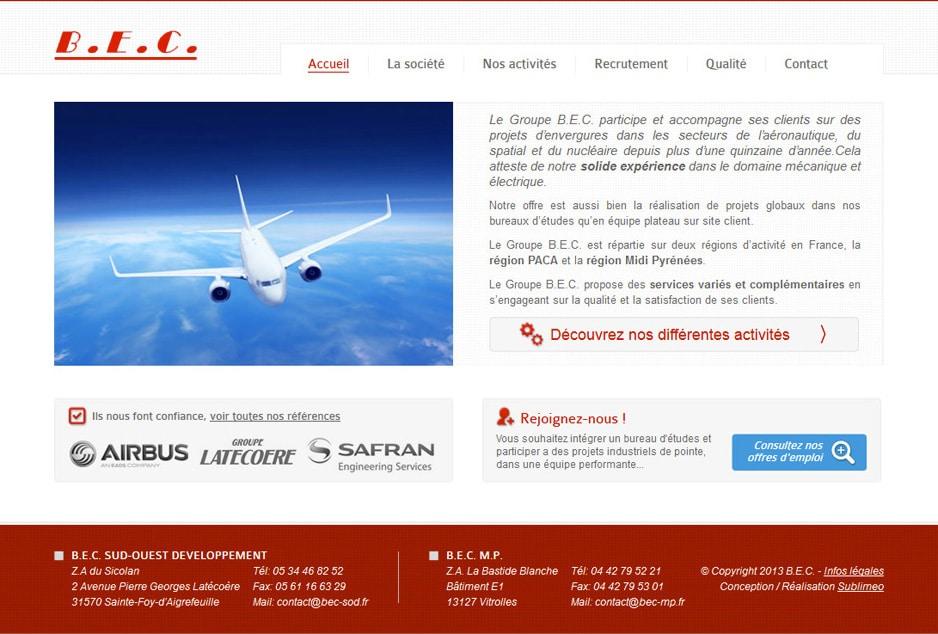 Webdesign et réalisation du site WordPress de l'entreprise d'ingénierie aéronautique BEC à Toulouse et Marseille