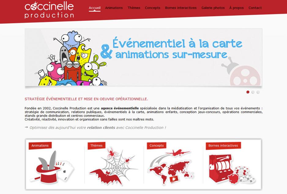 Webdesign du site vitrine de la société Coccinelle Production à Toulouse