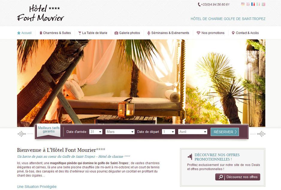 Webdesign, mobile design, optimisation de l'ergonomie, responsive design du site de l'hôtel de luxe Font Mourier