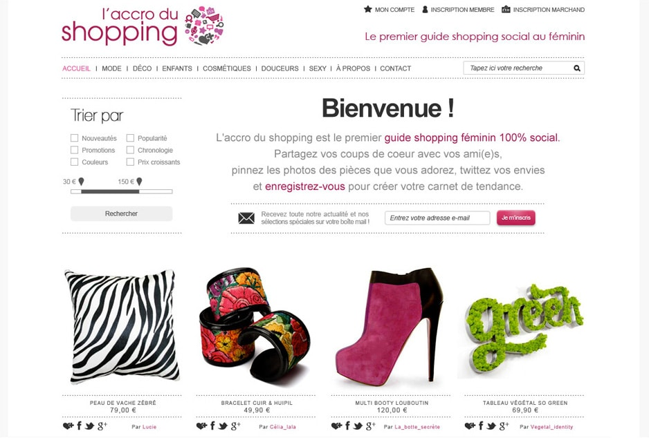 Webdesign et UX/UI design de la marketplace e-commerce L'accro du Shopping fondée à Paris
