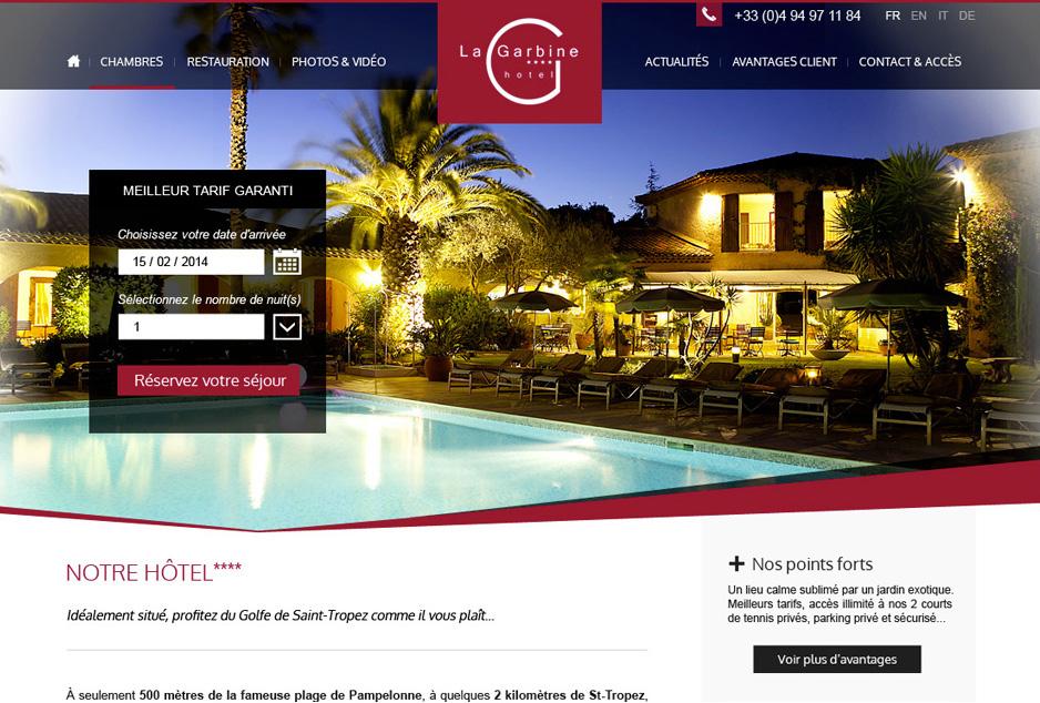 Refonte graphique & ergonomique du site de l'hôtel de prestige La Garbine à St-Tropez