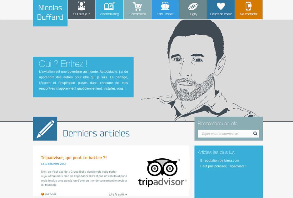 Webdesign du blog Nicolas Duffard en flat design
