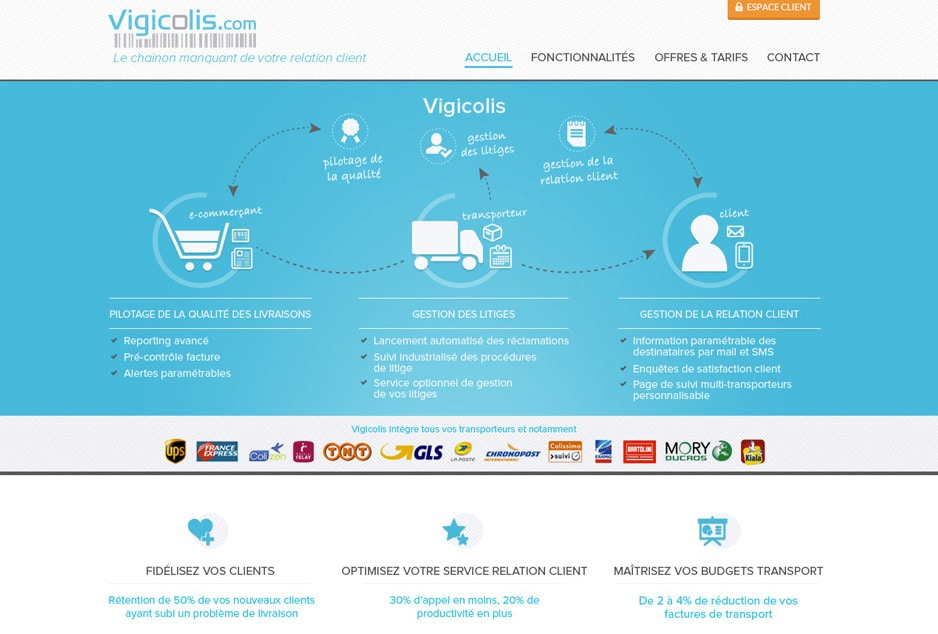Design du site de l'application transport et logistique e-commerce Vigicolis - Paris