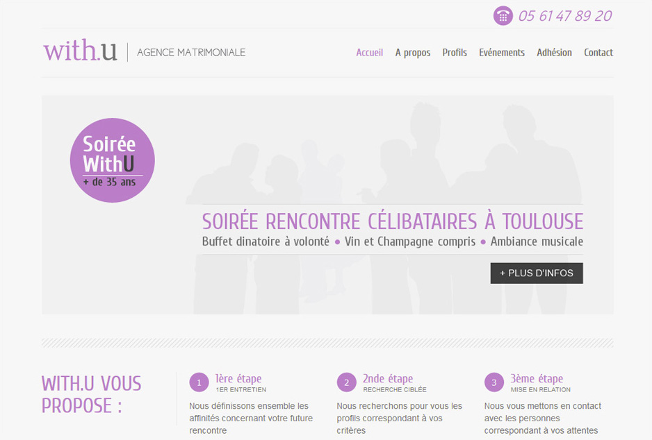 Web design du site de l'agence With U à Toulouse