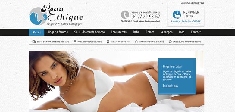 Création graphique et ergonomie du nouveau site ecommerce Peau Ethique développé avec Prestashop - Lyon