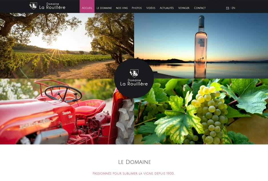 Identité visuelle domaine viticole avec boutique de vente à la propriété, design et création des interfaces web / mobile du nouveau site internet des vins du Domaine La Rouillère