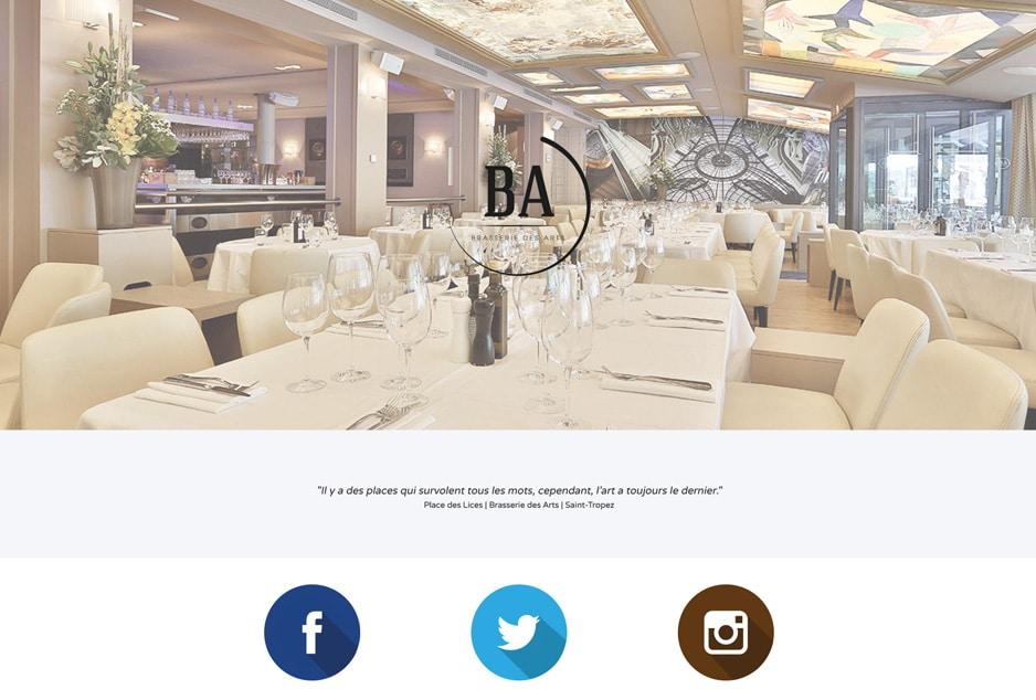 Création graphique du one page site de la Brasserie des Arts Saint-Tropez