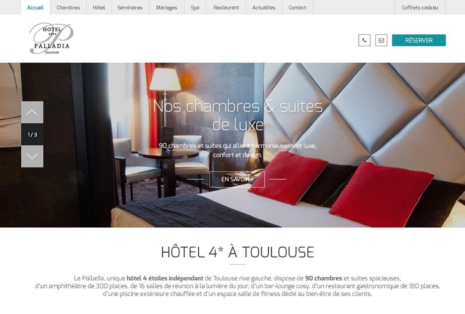 Audit performance et sécurité, design et développement web / mobile du site de l'hôtel de luxe Palladia à Toulouse