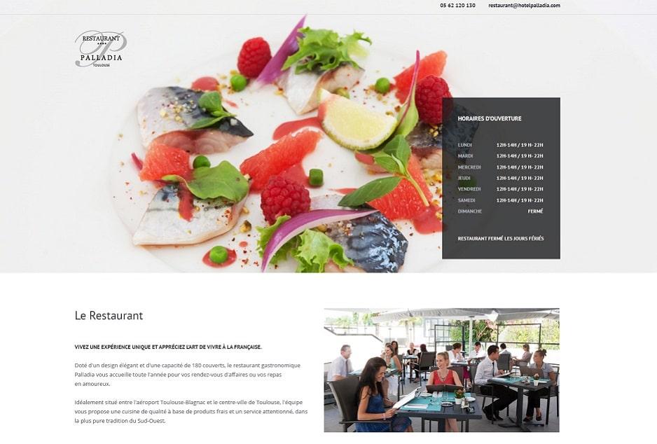 UI/UX design web/mobile et création du site WorPress du restaurant Le Palladia Toulouse
