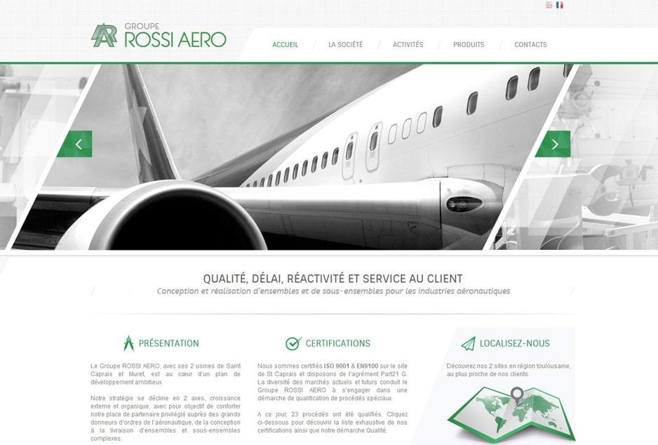 Conception avec WordPress du nouveau site corporate du Groupe Rossi Aero à Toulouse (Muret - Grenade sur Garonne - Castelnau-d'Estretefonds Eurocentre)