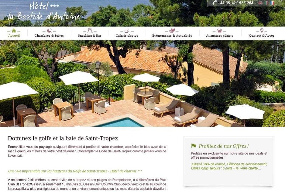 Design, ergonomie web et mobile de l'hôtel de charme La Bastide d'Antoine