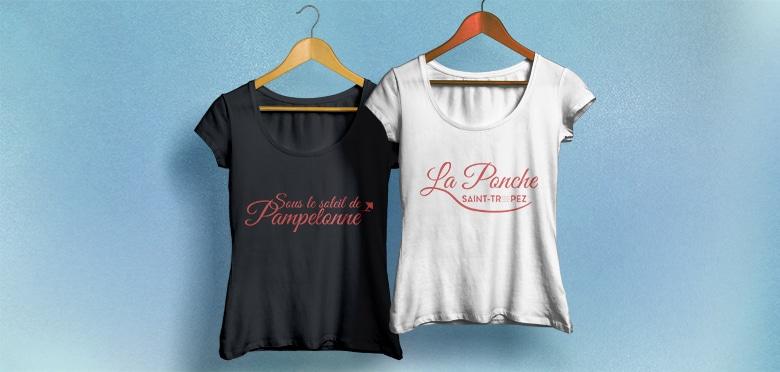 Design textile t-shirt et sac de plage