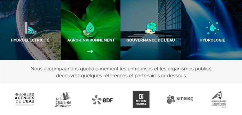 Design et développement WordPress du site internet mobile du bureau d'études Eaucea Toulouse, entreprise de services à l'environnement