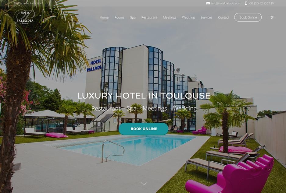 AMO et création de la version anglaise one page du site de l'hôtel Palladia Toulouse avec WordPress