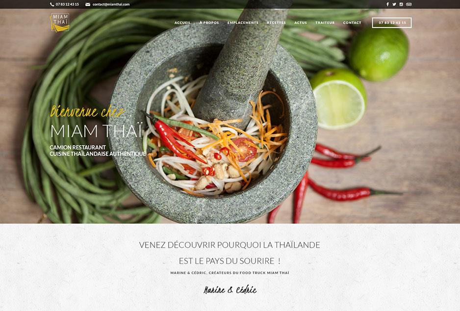 Développement spécifique WordPress et création du site mobile first Miam Thaï, food truck en région toulousaine
