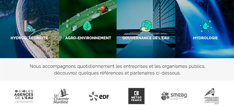 Création plaquette commerciale & cartes de visite, formation WordPress, design et développement du site internet mobile du bureau d'études Eaucea Toulouse, entreprise de services à l'environnement
