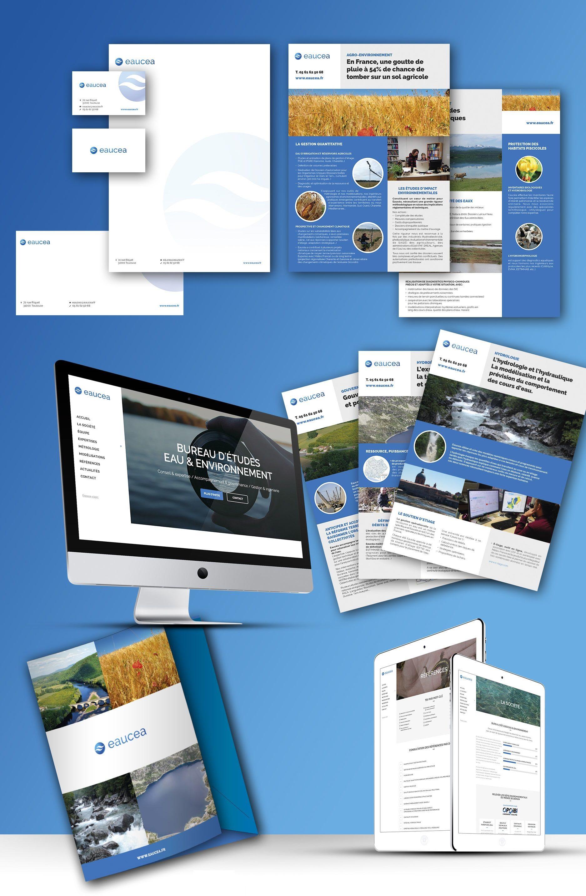 Design graphique print (papeterie, carte de visite, chemise, plaquette commerciale) & design digital Eaucea à Toulouse
