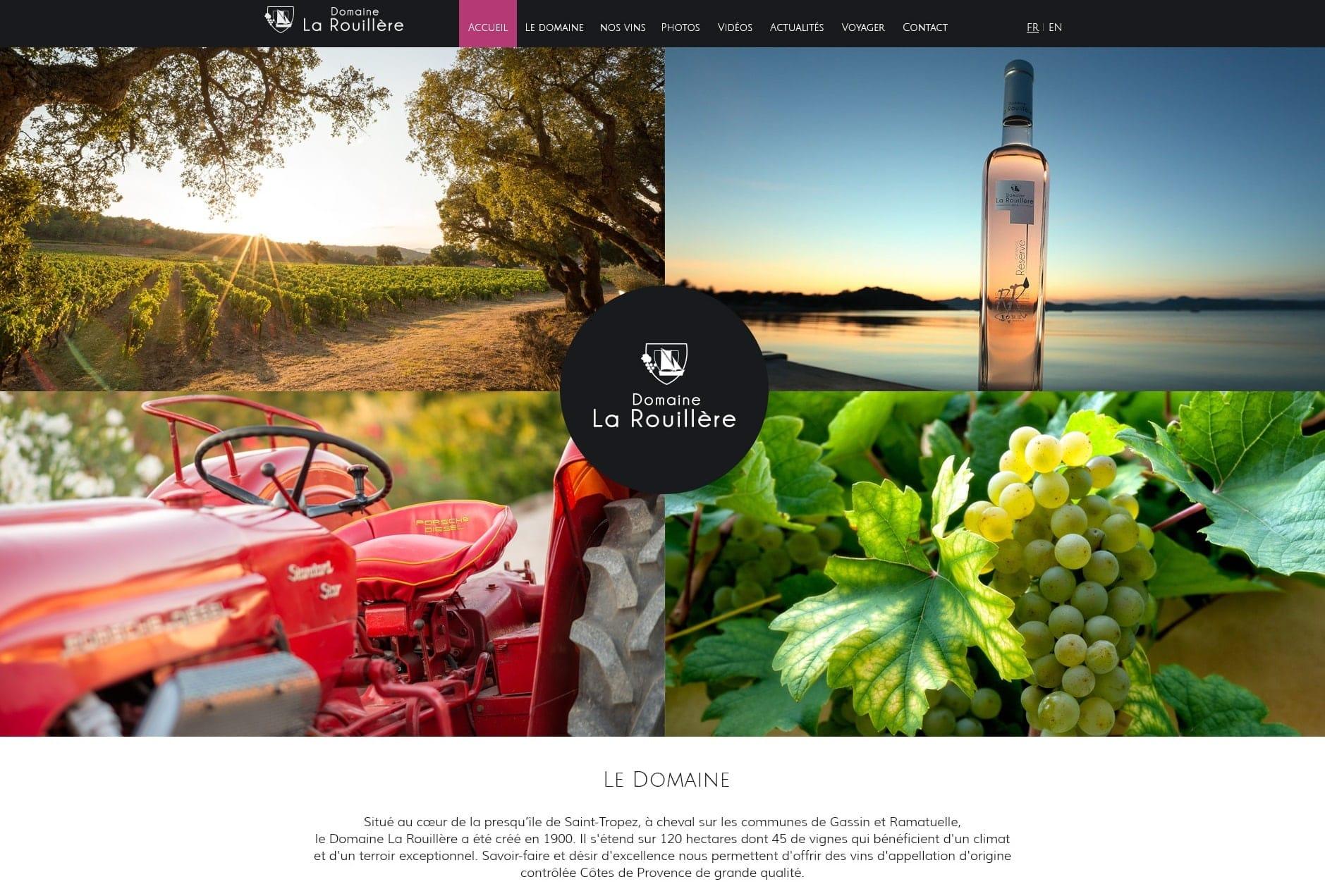 Identité visuelle du domaine viticole avec boutique de vente à la propriété, UX design et création des interfaces web / mobile du nouveau site internet responsive des vins du Domaine La Rouillère