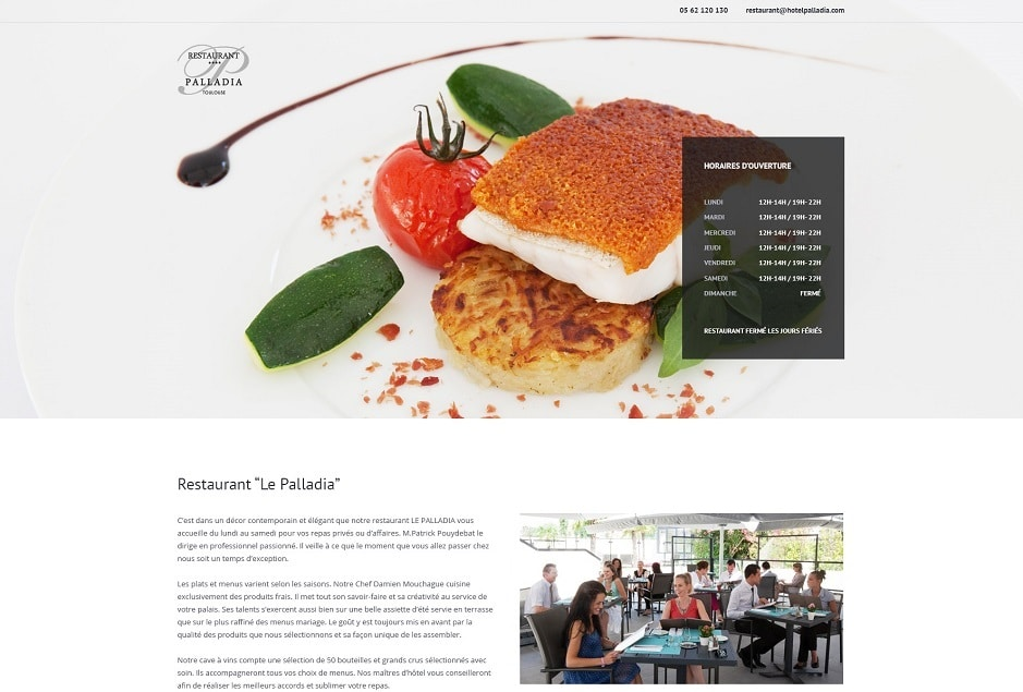 UI design & UX web / mobile / tactile, création du site WordPress du restaurant Le Palladia Toulouse