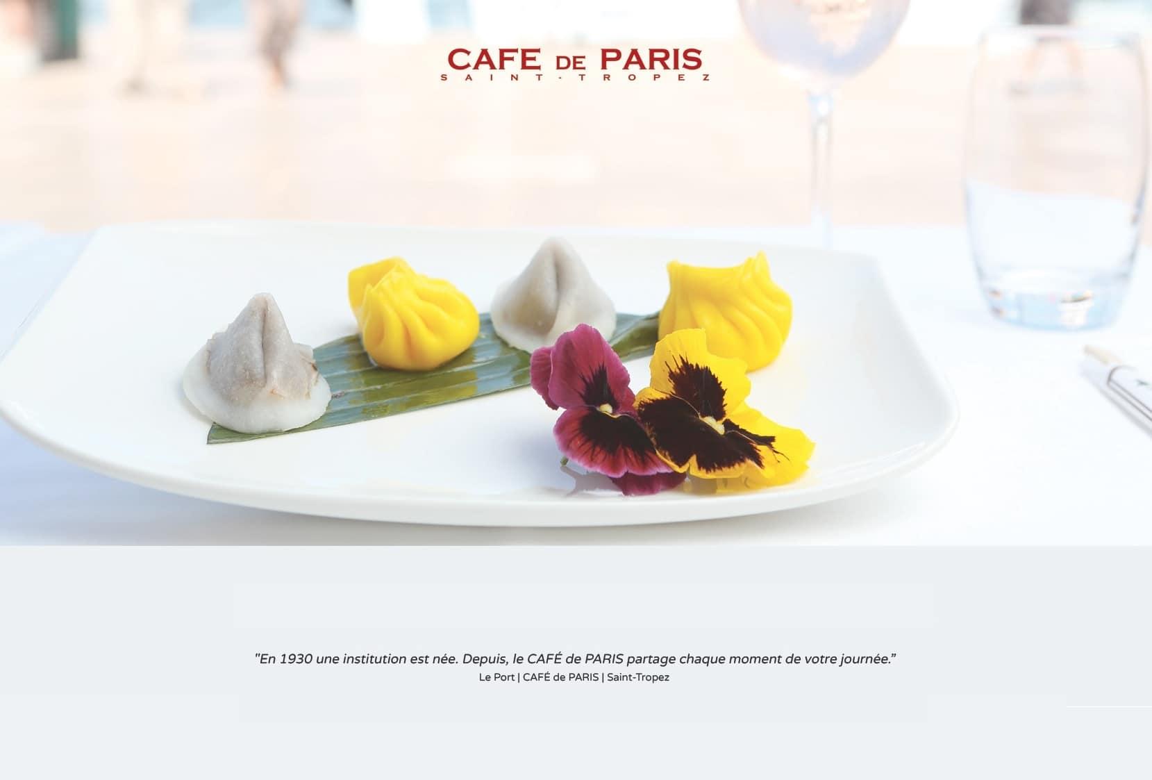 Création graphique, design carte de restaurant et intégration responsive Bootstrap du site Café de Paris