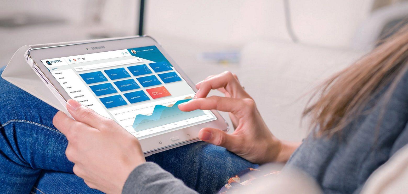 Refonte graphique (Graphiste spécialisé en design d'application, UX designer, UI designer) de l'ERP Distel [progiciel commerce, vente, achat, logistique, comptabilité, gestion], animation de workshop à Toulouse, charte digitale, conseil et conception UX