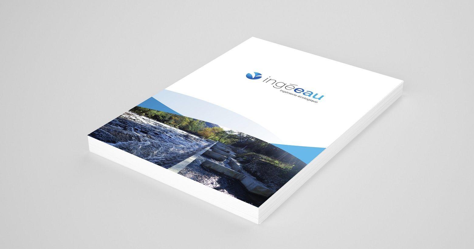 Création des supports de communication imprimés du et du logotype ingé-eau, ingénierie écologique, maîtrise d'oeuvre hydroélectricité, énergie hydraulique, énergies renouvelables