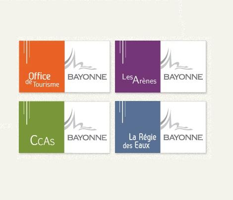Charte graphique Mairie de Bayonne, office de tourisme, CCAS, Les Arènes, Régies des Eaux