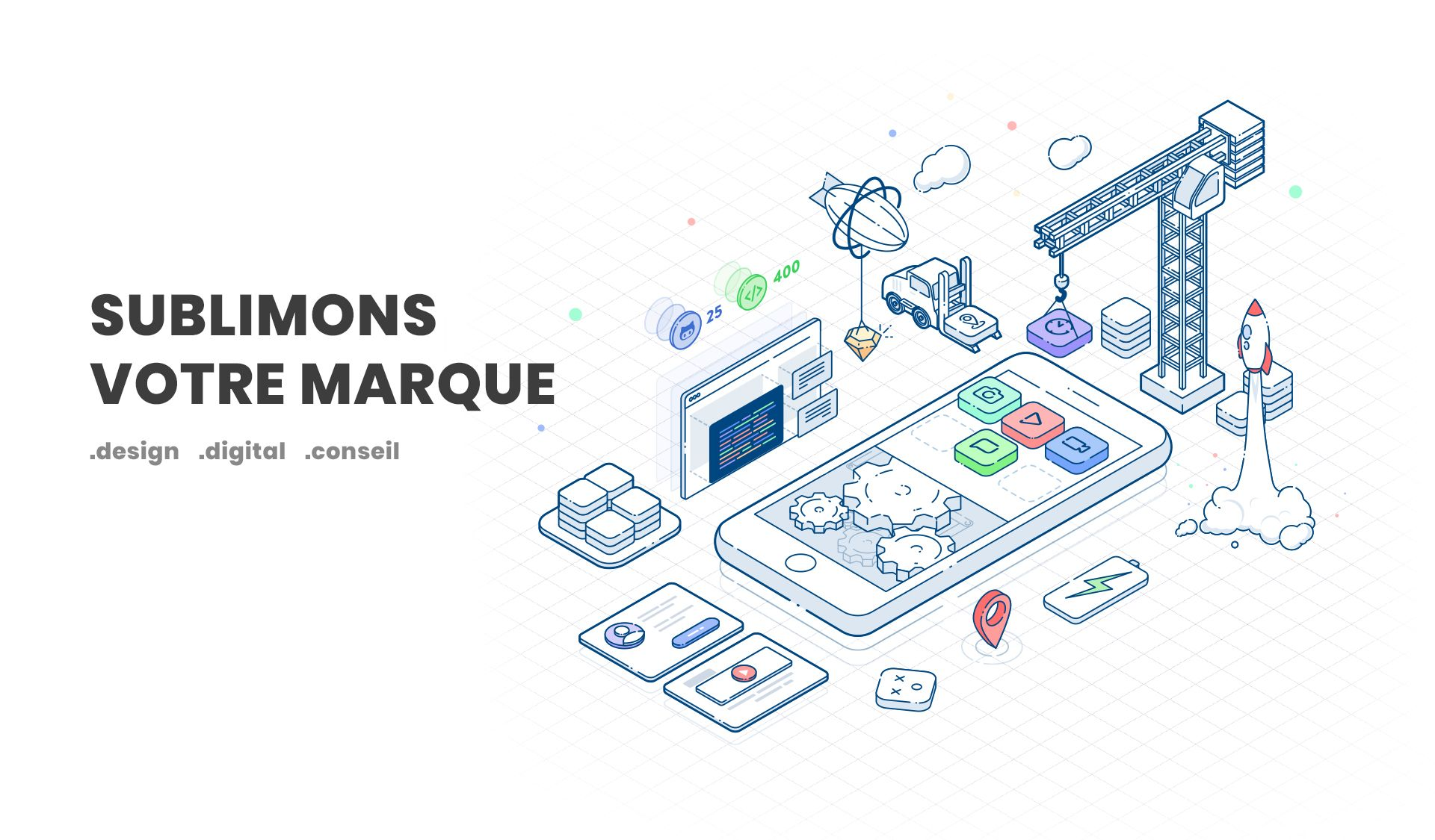 Illustration isométrique, graphiste Toulouse, agence conseil en communication & stratégie digitale