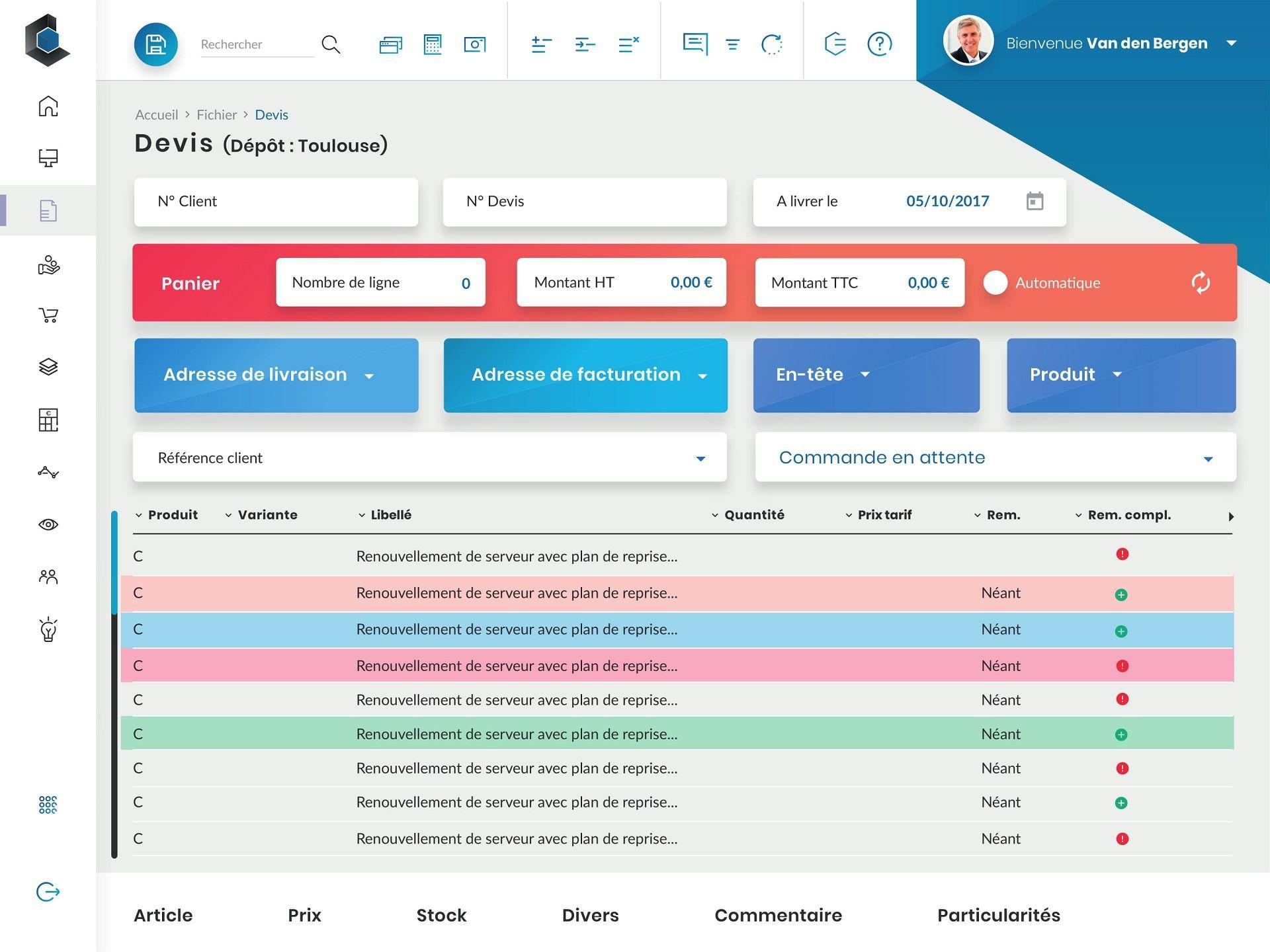 Refonte UX design logiciel ERP