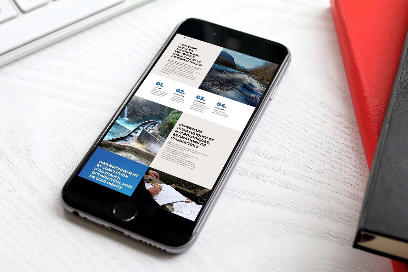 Création des supports de communication imprimés, du site mobile et du logotype ingé-eau, ingénierie écologique, maîtrise d'oeuvre hydroélectricité, énergie hydraulique, énergies renouvelables