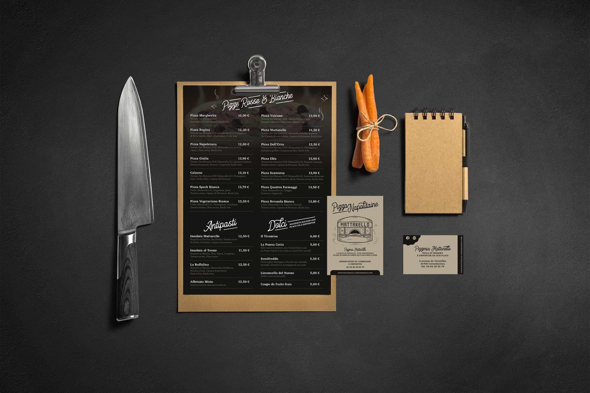 Graphiste carte & menu de restaurant à Toulouse