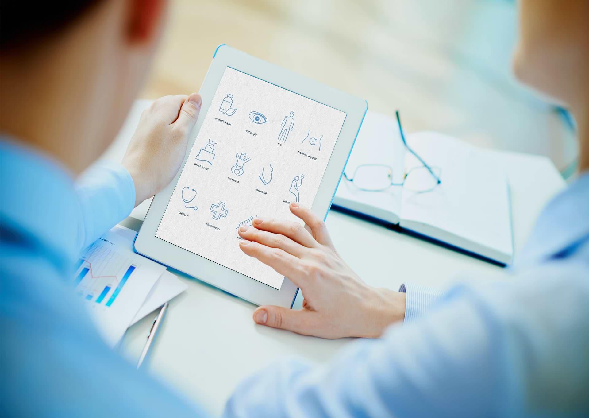 Graphisme application médicale & icônes santé, médecine, pharmacie, dentiste, opticien
